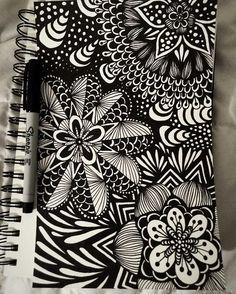 "2,985 Likes, 6 Comments - Zen Artist Gathering (@mindfulness.mandalas) on Instagram: ""Zentangling by @kjonesdesigns - ❉ #zentangle #zentangleart #blackandwhite #sharpie #zenart #art…"""