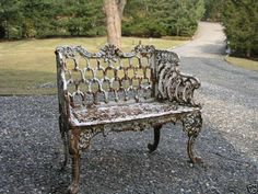 Victorian Kramer Bros Cast Iron Garden Bench By Ebay Seller Sandstonelion