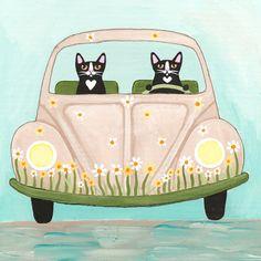 The Daisy Bug Road Trip Whimsical Cat Folk Art Print 5x5, 8x8, 10x10, 12x12