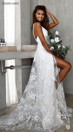 White Devotion – STUDIO MINC - Floral sequin net with leg split and train. Sequin Prom Dresses, Gorgeous Wedding Dress, Wedding Bridesmaid Dresses, Sexy Dresses, Wedding Gowns, Dream Wedding, Long Dresses, Perfect Wedding, Party Dresses