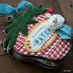 ~The Patch~ Strawberry Album by Katie Watson Book Crafts, Paper Crafts, Strawberry Patch, Strawberry Fields, Strawberry Decorations, Simple Birthday Cards, Recipe Scrapbook, Mini Scrapbook Albums, Handmade Books