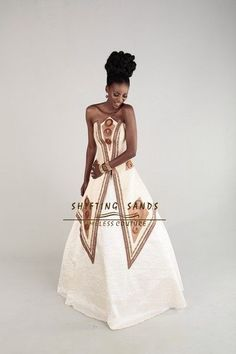 Shifting Sands Traditional African silk ball gown wedding dress with wooden beaded detail African Print Dress Designs, African Print Dresses, African Dress, African Attire, African Wear, African Fashion, African Style, African American Weddings, African Weddings