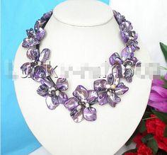 バロック9ブルームパープル貝殻白い真珠チョーカーレザーネックレスe1276素敵な女性のウェディングジュエリーかなり
