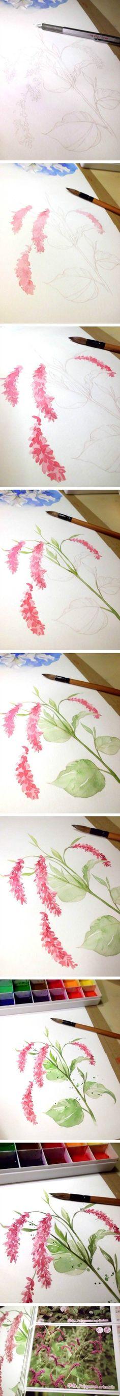 Painting watercolor flowers: