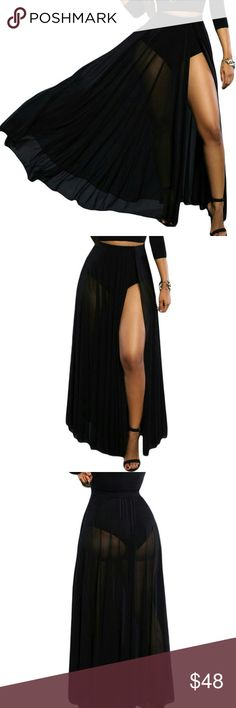 NEW! The Luxe Sheer Slit Pantied Maxi Skirt The perfect beach babe maxi!. Luxury and edge in this statement-making veil maxi skirt. The slit design reveals just enough leg while the silky fluid fabric gives it a glamours, on-trend finish. It has an elastic waistband, sheer overlay with front slit and high-waist panty attached in one piece. Zippered closure. Perfect to pair it with my black or red bandit  bikini tops! Must have trendy staples of the season! Prices Firm unless bundled Pair…