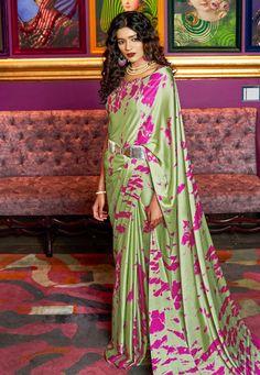 Buy online latest saree, finest collection of designer saree. Buy this satin printed saree for festival. Crepe Saree, Satin Saree, Silk Satin, Silk Sarees, Pakistani Bridal, Pakistani Dresses, Sari Dress, Saree Trends, Pink Color