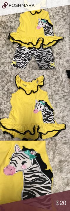 Girls Zebra Matching Set Girls Zebra Matching tank and short set. Size 2T. Worn twice!! Nannette Matching Sets