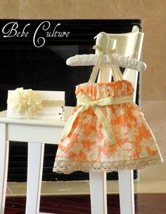 shabby chic baby dress peach and cream crochet baby girls halter dress newborn, baby, girls. $46.00, via Etsy.