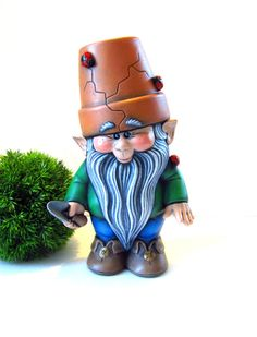 Ceramic Crackpot Garden Gnome/Pixie   11 Inches, Hand Painted Lawn Or Garden  Gnome, Outdoor Or Indoor