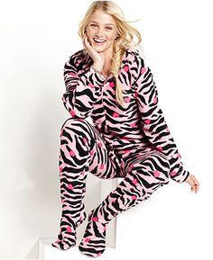0ea7432ecc Jenni by Jennifer Moore Footed Hooded Pajamas Women - Bras