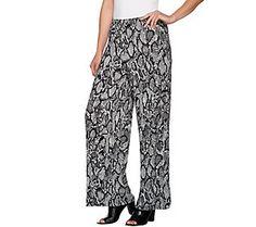 Joan Rivers Petite Length Jersey Knit Wide Leg Pull-On Pants