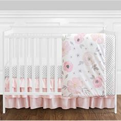 Shop for Sweet Jojo Designs Blush Pink, Grey and White Shabby Chic Watercolor Floral Collection Baby Girl Crib Bedding Set. Get free delivery On EVERYTHING* Overstock - Your Online Baby Bedding Shop! Baby Girl Bedding Sets, Baby Crib Bedding, Crib Sets, Girl Cribs, Floral Nursery, Floral Bedding, Baby Room Decor, Pink Grey, Blush Pink