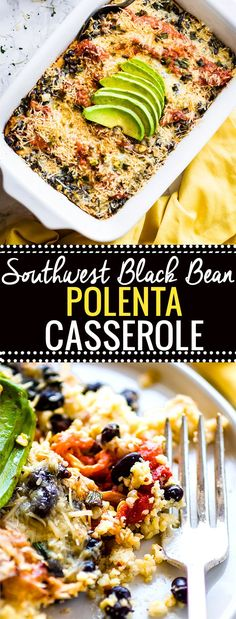 A wholesome gluten free vegetarian…Southwest Black Beans Polenta Casserole! A wholesome gluten free vegetarian… Dairy Free Recipes, Veggie Recipes, Mexican Food Recipes, Whole Food Recipes, Beans Recipes, Quick Recipes, Shrimp Recipes, Keto Recipes, Chicken Recipes