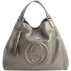 Gucci Soho Double Strap 282309 Pewter Satchel