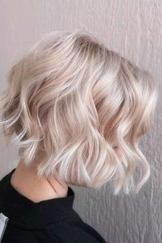 Blonde Bob With Waves ❤ Short hairstyles for thick hair don't have to be boring. A cute hairstyle like the ones pictured here can help add texture and life to your thick tresses. #shorthairstylesforthickhair #lovehairstyles #hair #hairstyles #haircuts