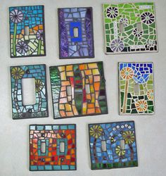 light switch covers using mostly stained glass and a few letter beads.
