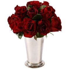 "Romantic red roses that last all year! Jane Seymour 12"" High Red Roses in Bud Vase"