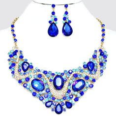 Royal Sapphire Cobalt Blue Aqua AB Clear Fantasy Crystal Rhinestone Faceted Oval Wave Jewel Formal Gold Chunky Necklace Set Elegant Costume Jewelry