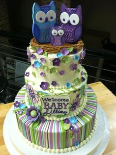 Purple, Turquoise and Green Stripes & Flowers Owl Family Cake (Lillian)