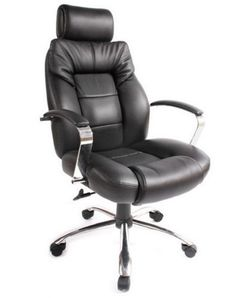 Black Leather Executive Chair Plush Seat Adjustable Base Home Office Furniture
