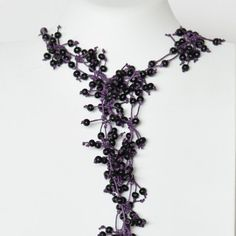 Necklace Long Statement Casual Black and Purple by Cardoucci