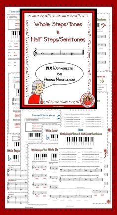 Music Theory worksheets! SIX worksheets to reinforce the concept of whole steps/tones and half steps/semitones. ♫ CLICK through to preview or save for later! ♫