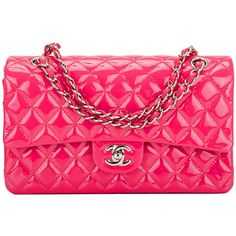 Pre-owned Chanel Fuchsia Pink Quilted Patent Large Classic Double Flap... ($6,100) ❤ liked on Polyvore