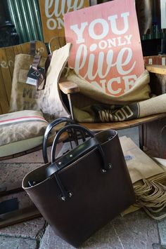 Tote Bag. Handcrafted dark brown Urban leather Shop by by BagsOnly