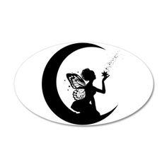 Silhouette Fairy On Half Moon Tattoo Stencil Silhouette Cameo, Fairy Silhouette, Silhouette Projects, Silhouette Images, Moon Silhouette, Stencils, Fairy Lanterns, Fairy Tattoo Designs, Fairy Jars
