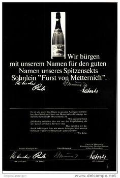 Original-Werbung/Inserat/ Anzeige 1965 - 1/1-SEITE : SÖHNLEIN FÜRST VON METTERNICH SEKT  - ca. 170 x 250 mm