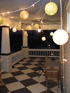 #springintothedream  Porch Party:  Inspiration to jump start my screen porch project.  What's your porch party style? Will you be dancing under the lanterns on an awesome diamond painted floor?