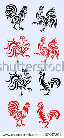 Rooster, set rooster tribal art vector picture - stock vector