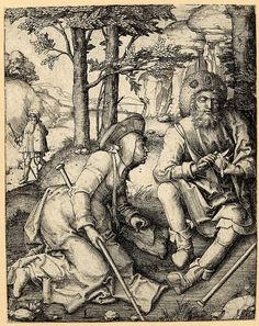 c, 1508 Lucas van Leyden - Pilgrims; a pilgrim sitting on ground at r peels an apple with a knife as a female pilgrim next to him to the r looks on avidly; behind them to the l another pilgrim with a staff walks along a path in the midst of a rock landscape.  c.1508 Engraving