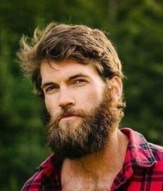 Medium Length Hairstyle for Men – Men's style, accessories, mens fashion trends 2020 Beard And Mustache Styles, Beard Styles For Men, Beard No Mustache, Hair And Beard Styles, Lumberjack Men, Badass Beard, Man Bun Hairstyles, Facial Hair Growth, Hairy Hunks