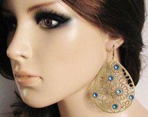 Filigree Earrings Laser Cut Jewelry Blue Earrings Rhinestone Earrings Light Earrings Ethnic Earrings Big Teardrop Earrings Statement Jewelry