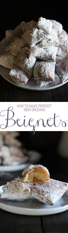 Make PERFECT New Orleans-style beignets right at home! SO SO GOOD. Can be made ahead of time too!