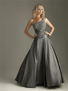 Charcoal Evening Dresses, One Shoulder Ball Gown, Sweet 16 Dresses $178.00