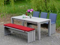 Simple Gartenm bel Holz Set Farbe Transparent Grau mit Polster und Sitzschalen