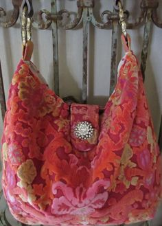 Vintage Velvet Chenille Handbag Orange Pink by LadidaHandbags