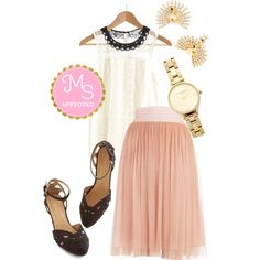 In this outfit: Patron Prestige Skirt in Pink, Cloud Bank Top, Flaunt Your Fancy Earrings, Teacup and Running Watch in Gold, Currant Scones Heel in Black #engagementphotos #feminine #beautiful #fashion #neutrals #style #tulle #goldwatch #OliviaBurton