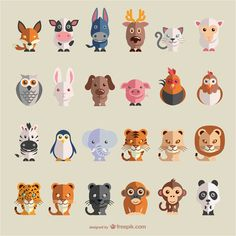Animals flat vector set