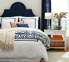 Excellent layering. Loving the headboard too!