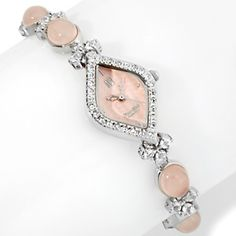 Victoria Wieck Rose Quartz Doublet and White Topaz Link Watch at HSN.com.
