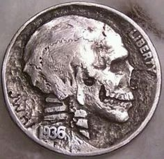 "38 Impressive ""Hobo Nickels"" - Hobo Nickels from the early The Buffalo Head nickel was particularly popular because of its larger size and carving or engraving surface. Called a Hobo nickel becaus they were more likely to carry coins. Old Coins, Rare Coins, Antique Coins, Memento Mori, Hobo Nickel, Metal Detecting, Crane, Interesting History, Interesting Stories"