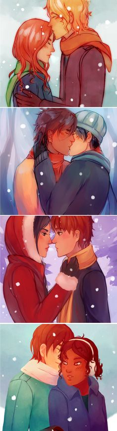 TMI couples in the snow Aaww!!! Clace! Malec! Sizzy! Jorian!!!