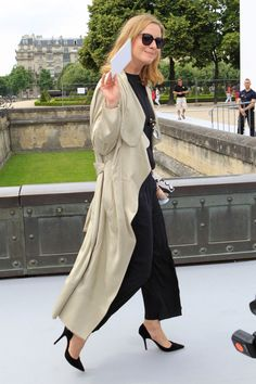 Floor-skimming trench coat