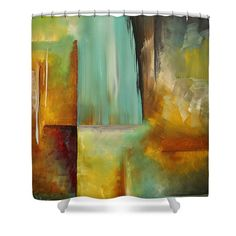 Abstract Shower Curtain featuring the painting Haphazardous By Madart by Megan Duncanson