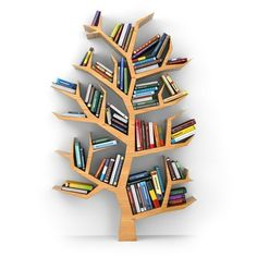 Awesome And Genius Tree Bookshelf Design And Styling Ideas Diy Bookshelf Design, Shelving Design, Bookcase Decorating, Creative Bookshelves, Decorating Ideas, Kids Room Bookshelves, Library Shelves, Bookcases, Tree Bookshelf