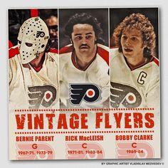Bernie Parent | Rick MacLeish | Bobby Clarke #philadelphiaflyers #nhl #хоккей #icehockey Hockey Room, Hockey Puck, Ice Hockey, Flyers Hockey, Hockey Teams, Sports Teams, Bernie Parent, Hockey Pictures, Stars Hockey