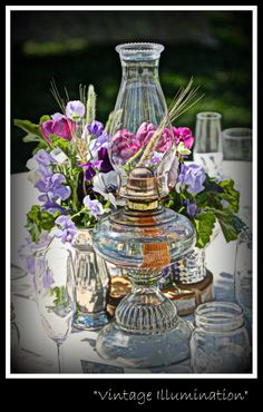 Fun fall centerpiece using an oil lamp books and bud vases oil vintage oil lamps for table centerpieces for any occasion aloadofball Image collections